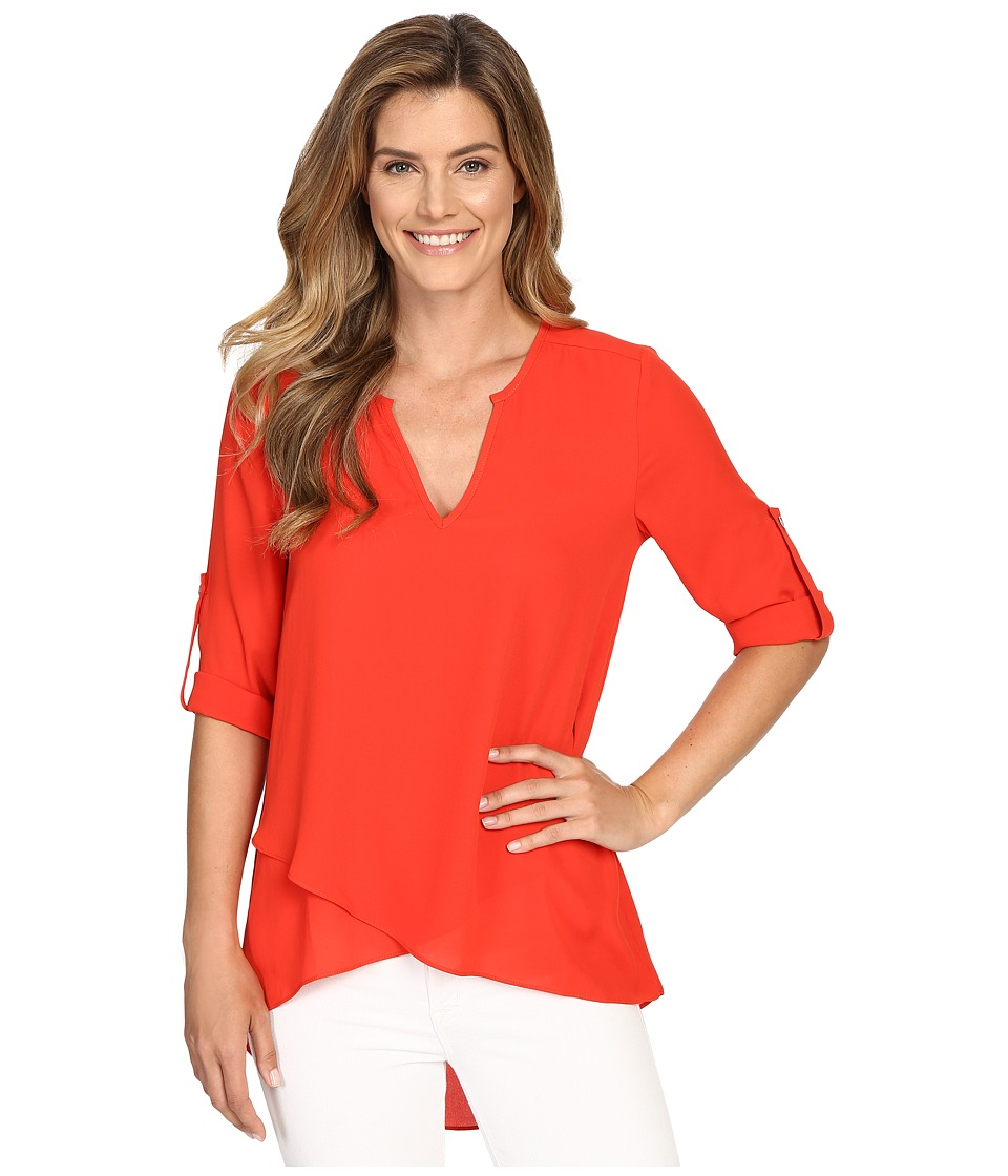 Karen Kane - Asymmetrical Hem Wrap Top (Poppy) Women's Blouse