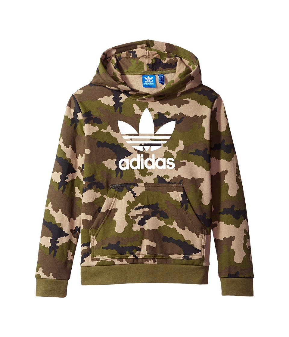adidas Originals Kids - Everyday Iconics Trefoil Camo Hoodie (Toddler/Little Kids/Big Kids) (Multicolor/Olive Cargo/White) Boy's Sweatshirt