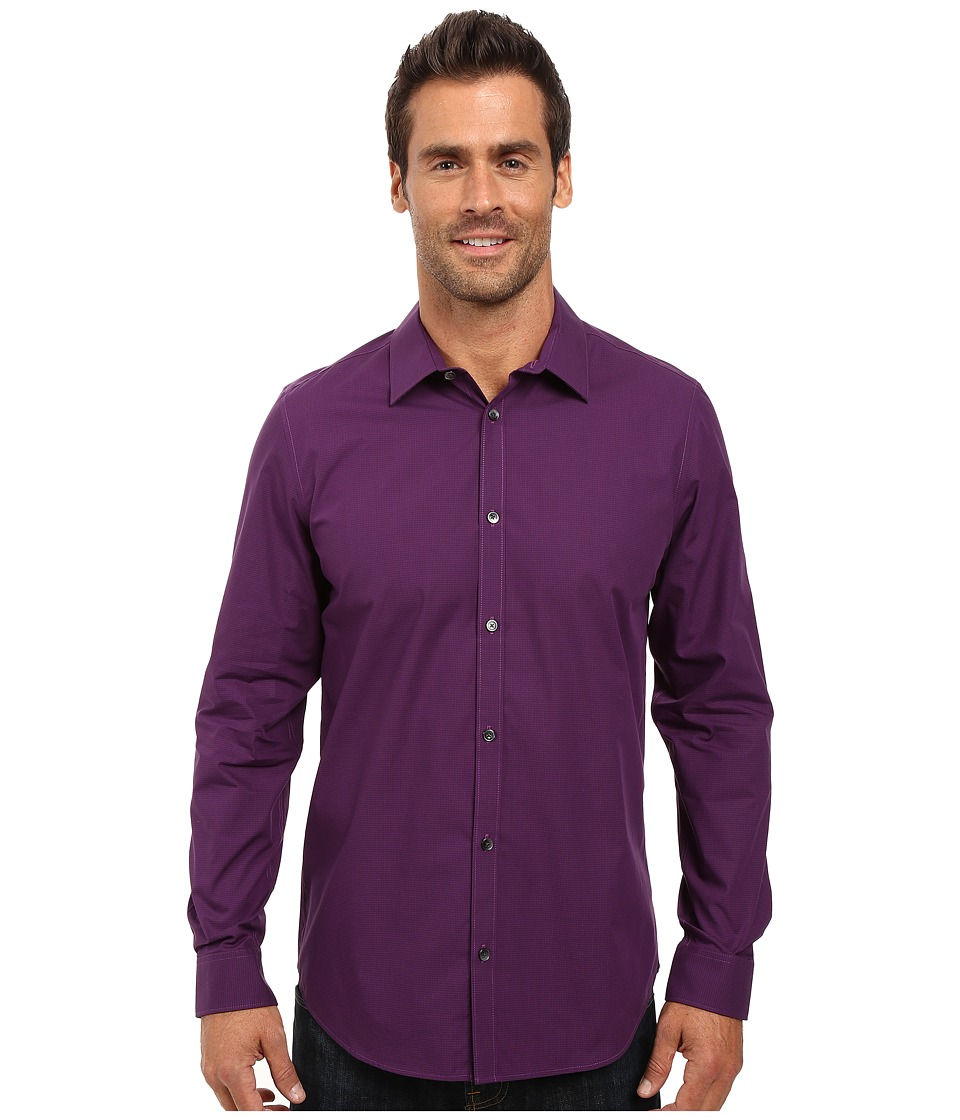 Calvin Klein - Long Sleeve Infinite Cool Mini Check Poplin Shirt (Grape Juice) Men's Long Sleeve Button Up