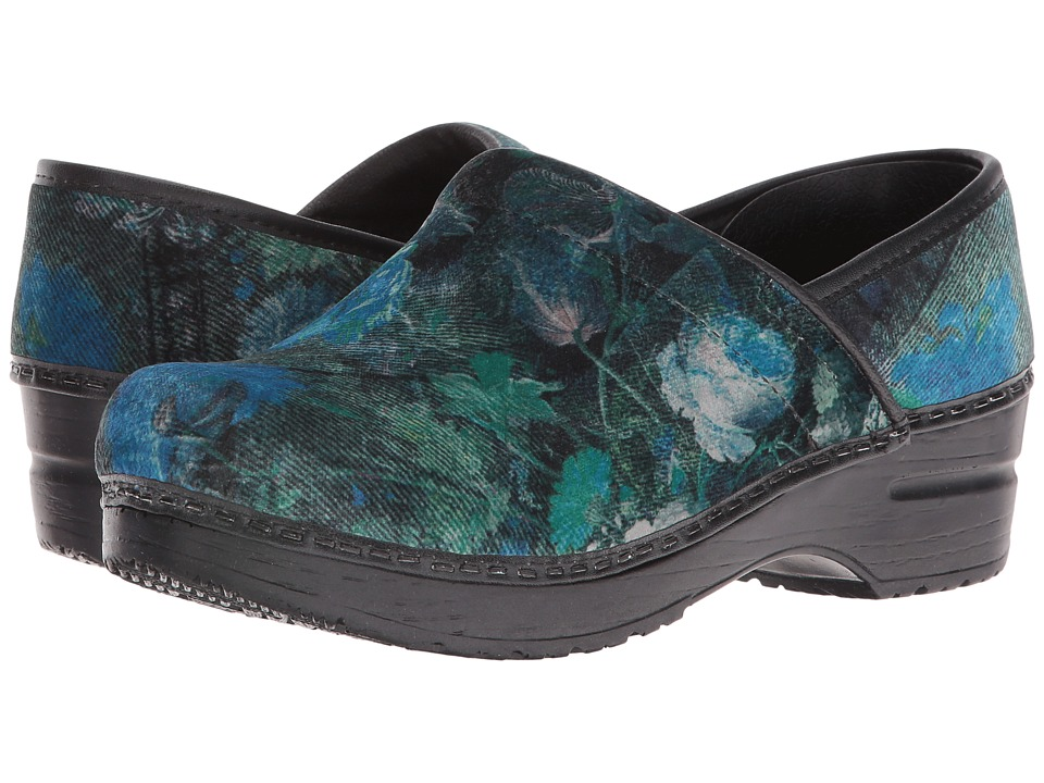 Sanita - Original Vegan Velvet Flower (Green) Women's Clog Shoes