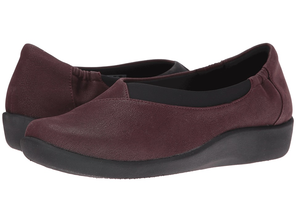 Clarks - Sillian Jetay (Burgundy Heathered Jersey) Women's Slip on Shoes