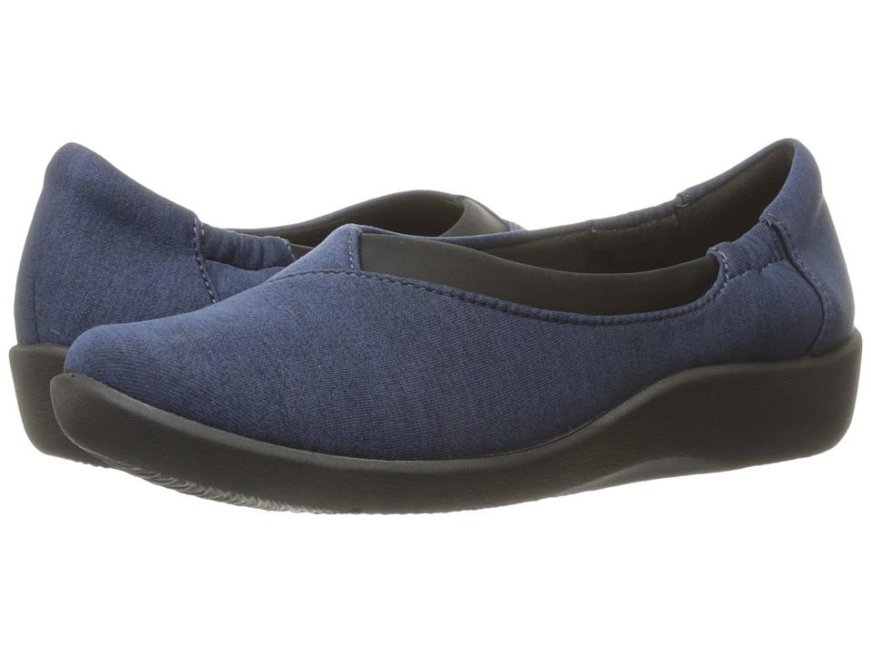 Clarks - Sillian Jetay (Navy Heathered Jersey) Women's Slip on Shoes