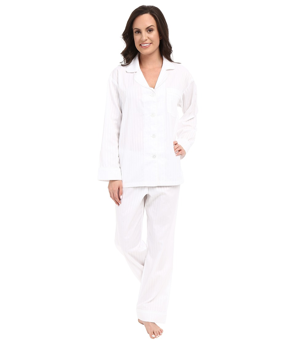 BedHead - Long Sleeve Classic Bottom Pajama Set (3D Stripes White) Women's Pajama Sets