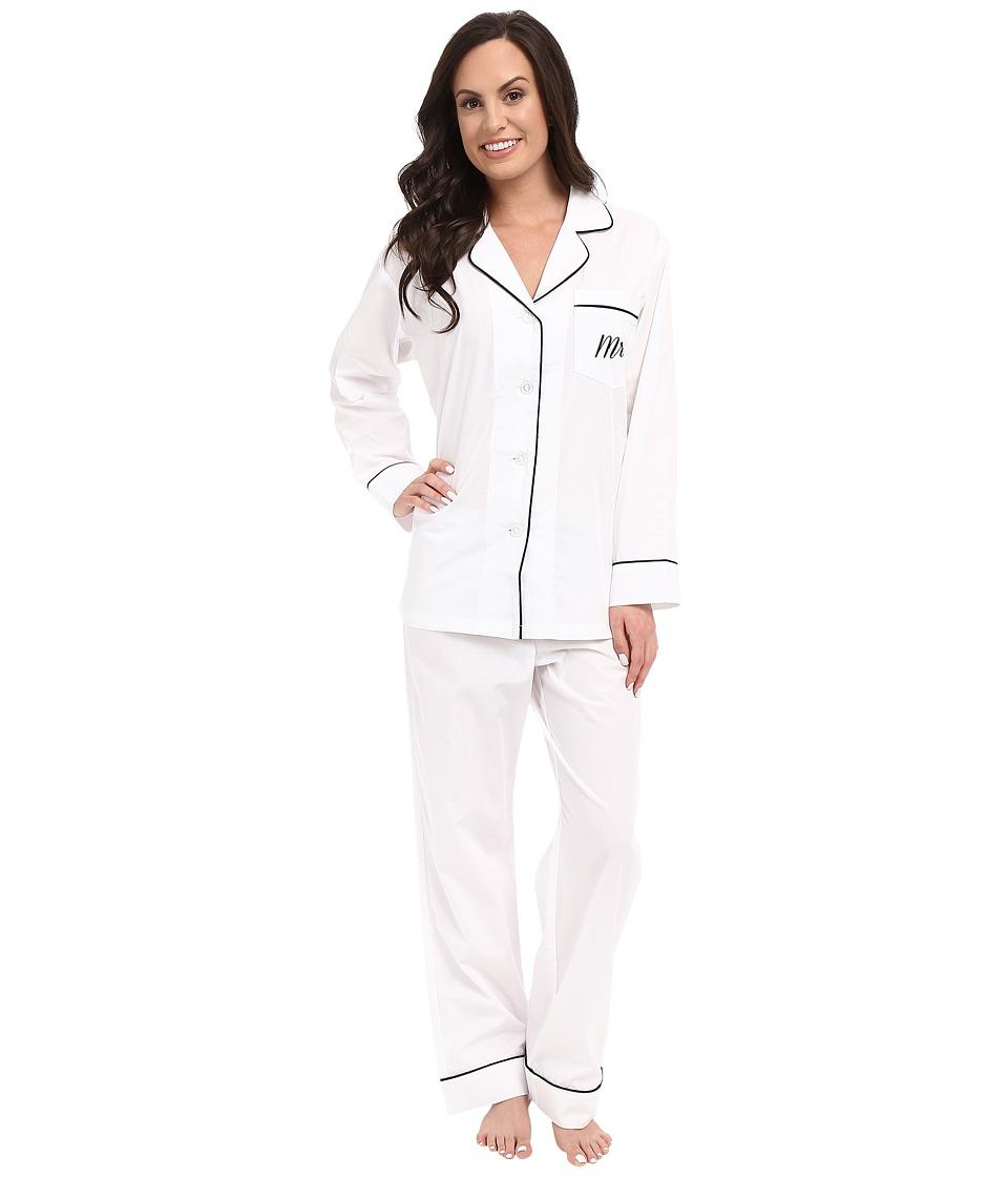 Image of BedHead - Long Sleeve Classic Bottom Pajama Set (Mr. & Mrs. Ivory) Women's Pajama Sets