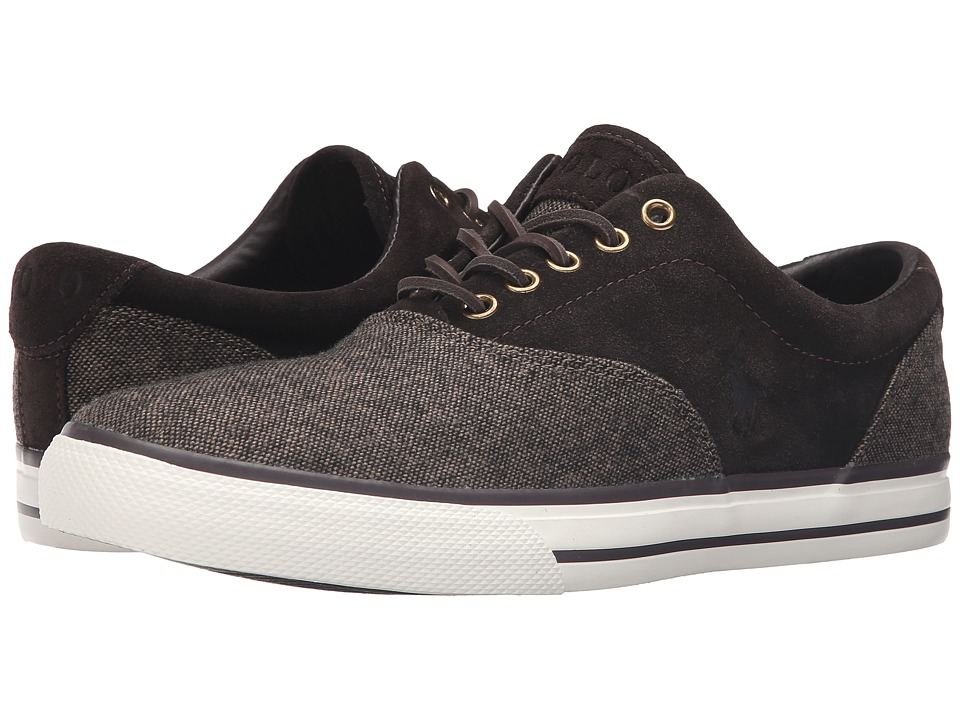 Polo Ralph Lauren - Vaughn Saddle (Dark Brown/Dark Brown Menswear Tweed/Sport Suede) Men's Lace up casual Shoes