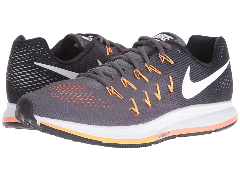Nike - Air Zoom Pegasus 33 (Dark Grey/Black/Bright Citrus/White) Men's Running Shoes