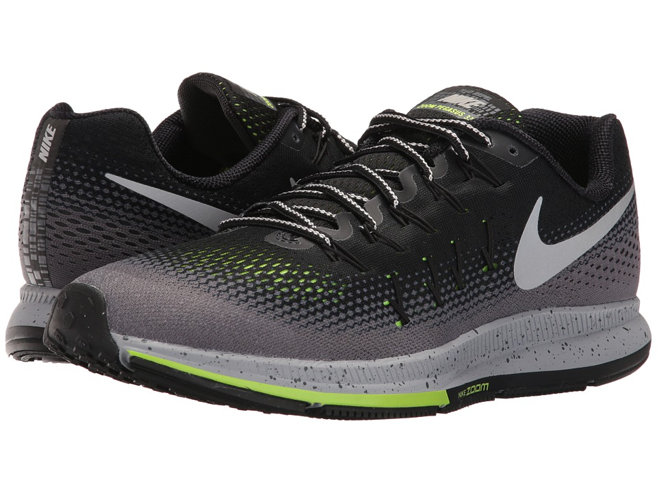 Nike - Air Zoom Pegasus 33 Shield (Black/Metallic Silver/Dark Grey/Stealth) Men's Running Shoes