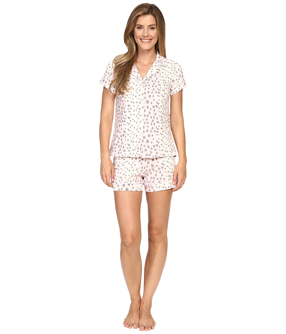 BedHead - Short Sleeve Shorty Bottom Pajama Set (Pink Royal Animal) Women's Pajama Sets