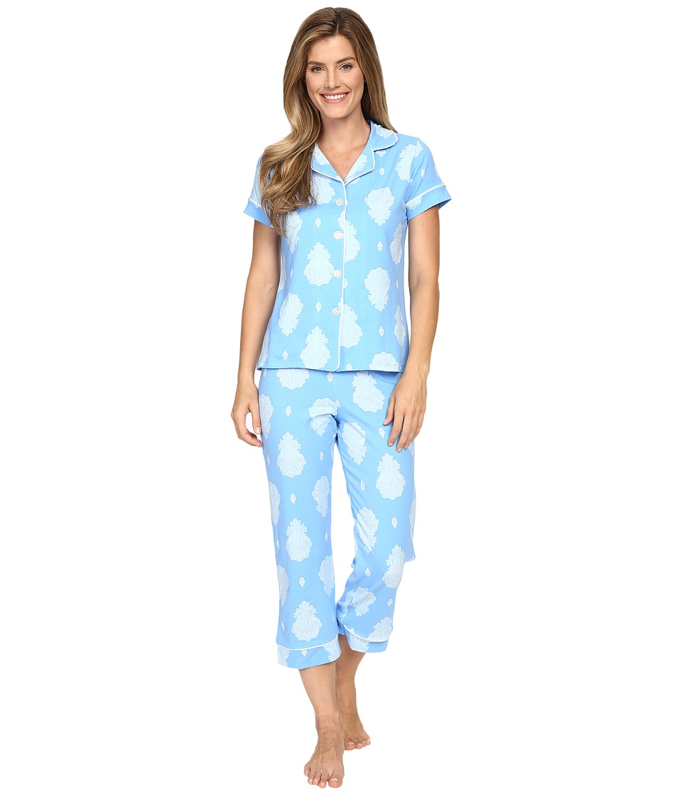BedHead - Short Sleeve Cropped Bottom Pajama Set (Blue Paisley Palace) Women's Pajama Sets
