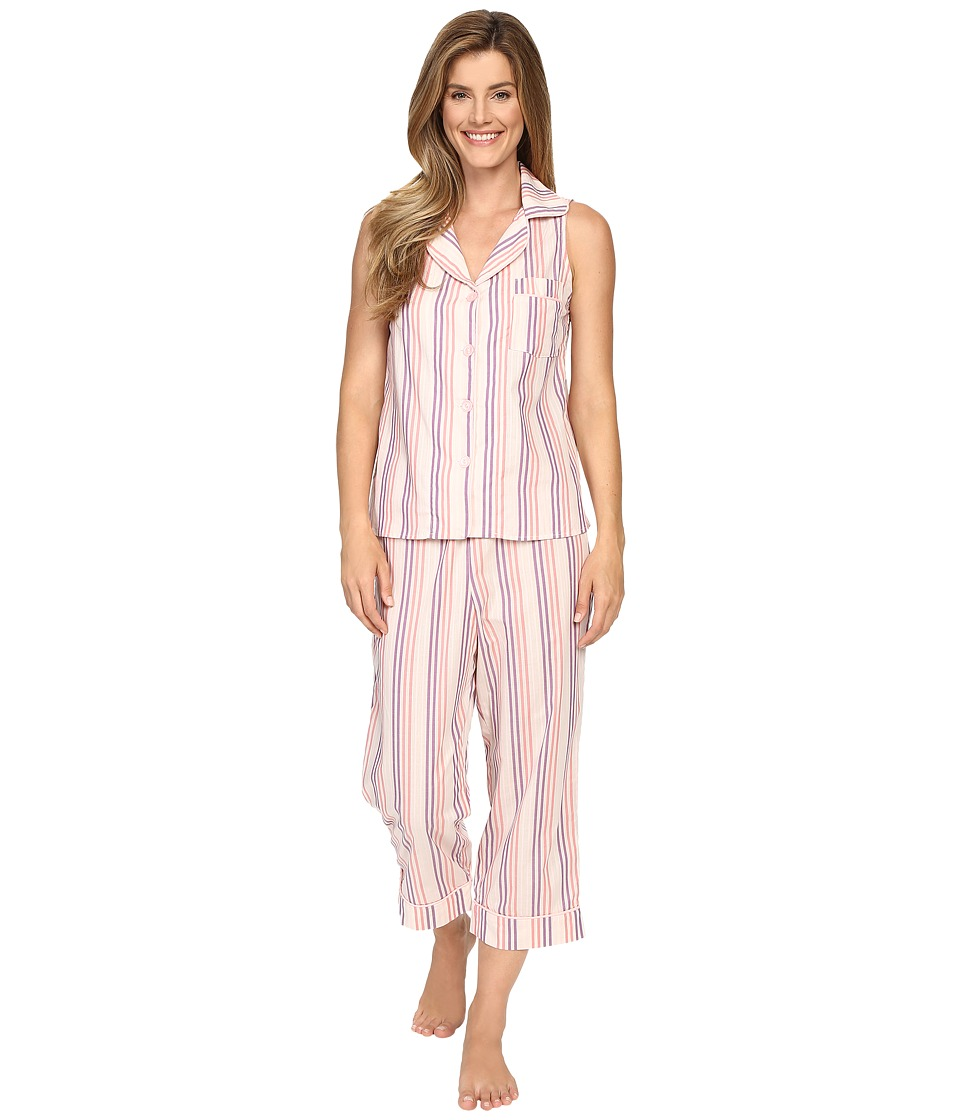BedHead - Sleeveless Cropped Bottom Pajama Set (Coral Cabana Stripe) Women's Pajama Sets