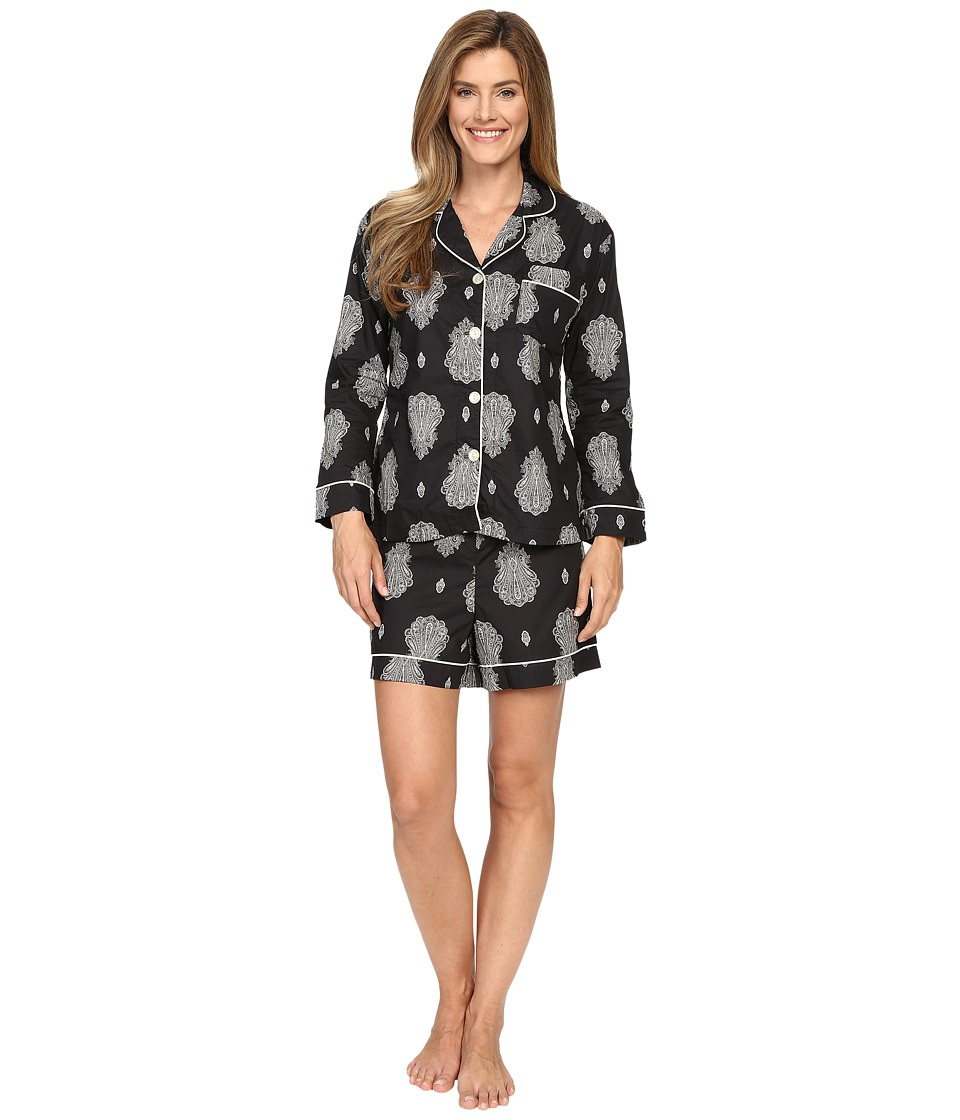 BedHead - Long Sleeve Shorty Bottom Pajama Set (Black Paisley Palace) Women's Pajama Sets