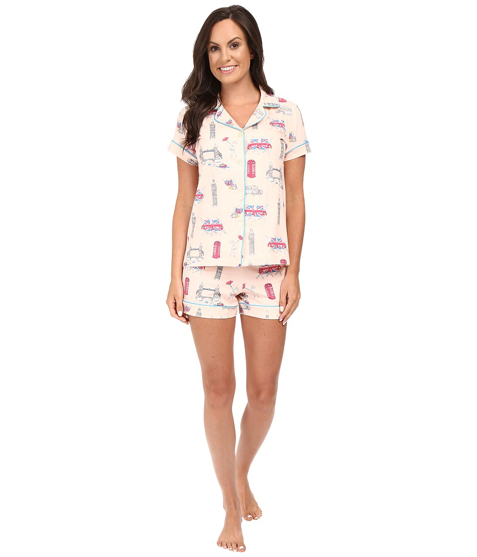 BedHead - Short Sleeve Shorty Bottom Pajama Set (London Calling) Women's Pajama Sets
