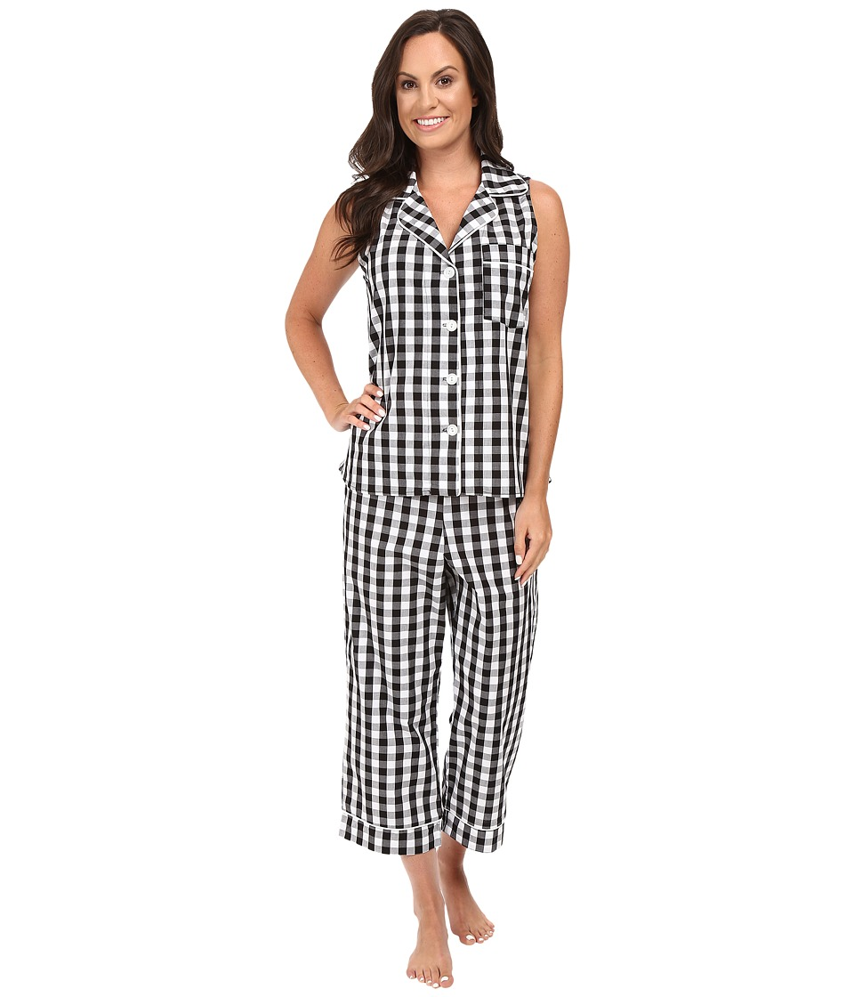 BedHead - Sleeveless Cropped Bottom Pajama Set (Black Gingham) Women's Pajama Sets