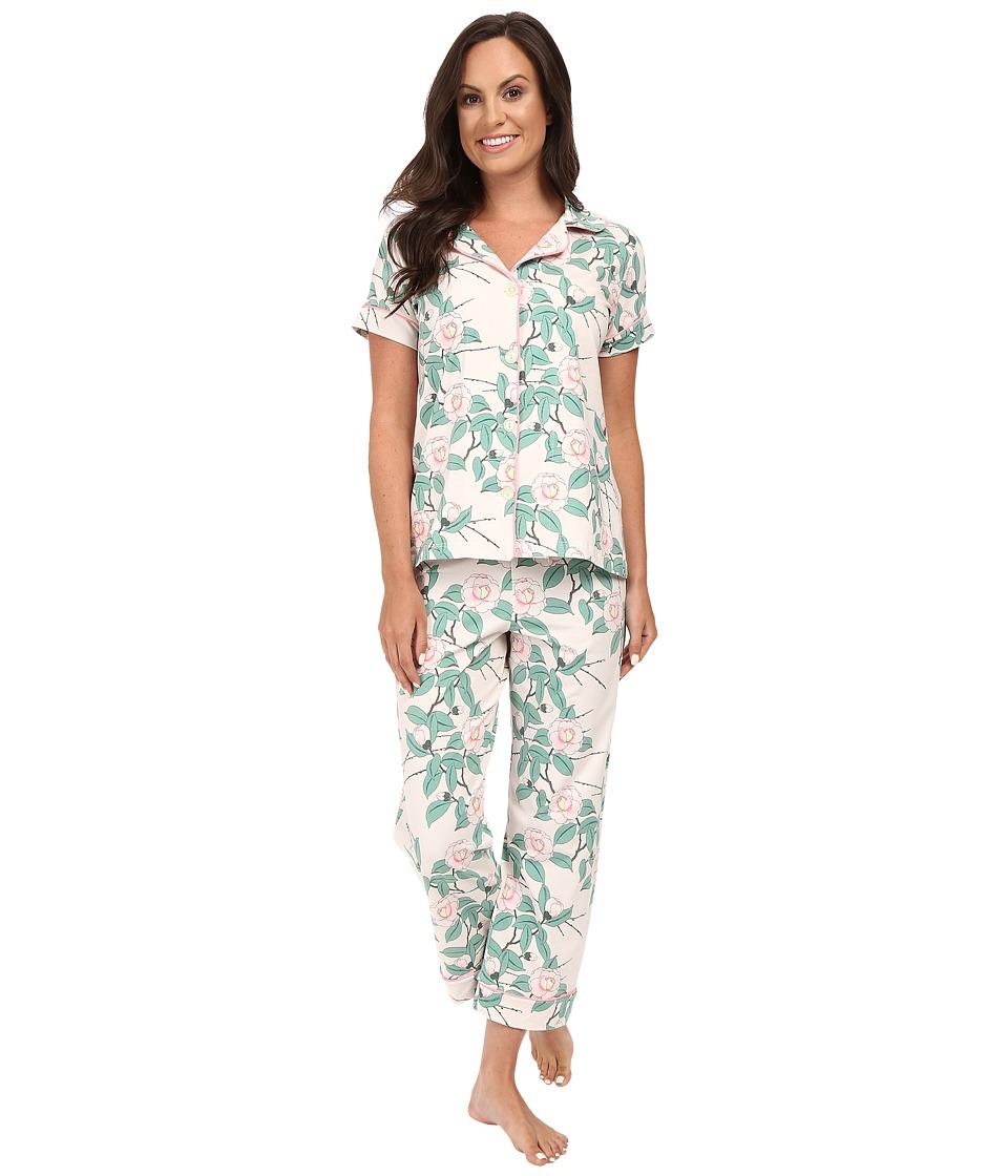 BedHead - Short Sleeve Cropped Bottom Pajama Set (Pink Camellia) Women's Pajama Sets
