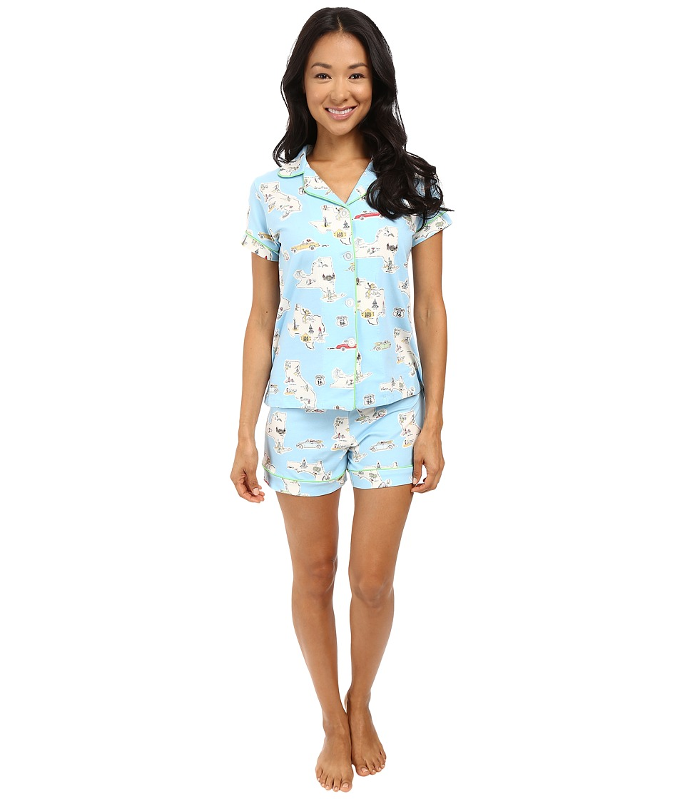 BedHead - Short Sleeve Shorty Bottom Pajama Set (Road Trip) Women's Pajama Sets