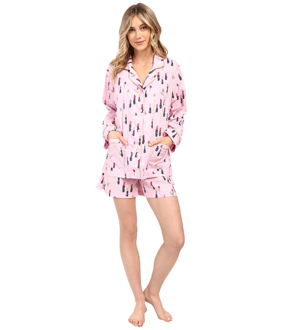 BedHead - Long Sleeve Shorty Bottom Pajama Set (Pink Lipstick) Women's Pajama Sets