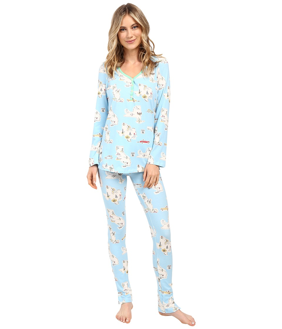 BedHead - Long Sleeve Classic Henley Pajama Set (Road Trip) Women's Pajama Sets