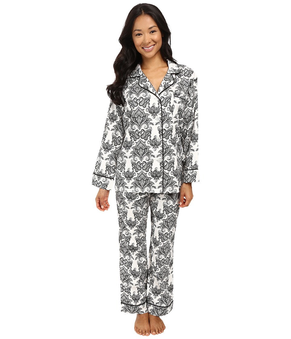 BedHead - Long Sleeve Classic Bottom Pajama Set (Black/White Paisley) Women's Pajama Sets