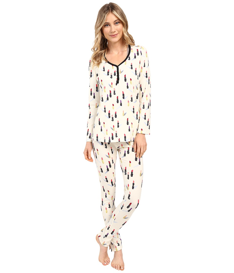 BedHead - Long Sleeve Classic Henley Pajama Set (Cream Lipstick) Women's Pajama Sets