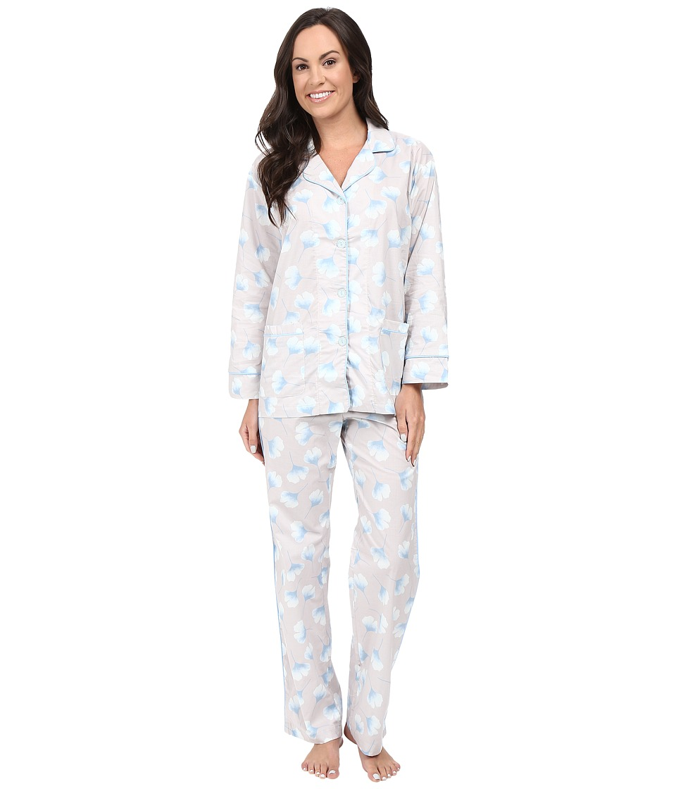 BedHead - Long Sleeve Notched Collar Pajama Set (Gingko) Women's Pajama Sets