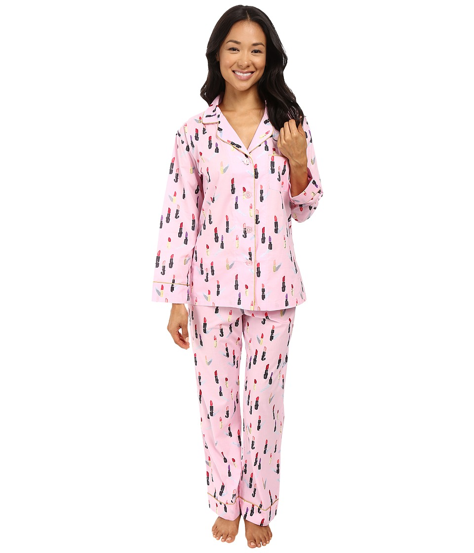 BedHead - Long Sleeve Classic Bottom Pajama Set (Pink Lipstick) Women's Pajama Sets