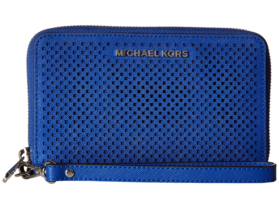 MICHAEL Michael Kors - Jet Set Travel Large Flat MF Phone Case (Electric Blue) Cell Phone Case