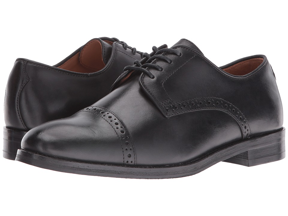 Polo Ralph Lauren - Morgfield (Black Burnished Leather) Men's Lace Up Cap Toe Shoes