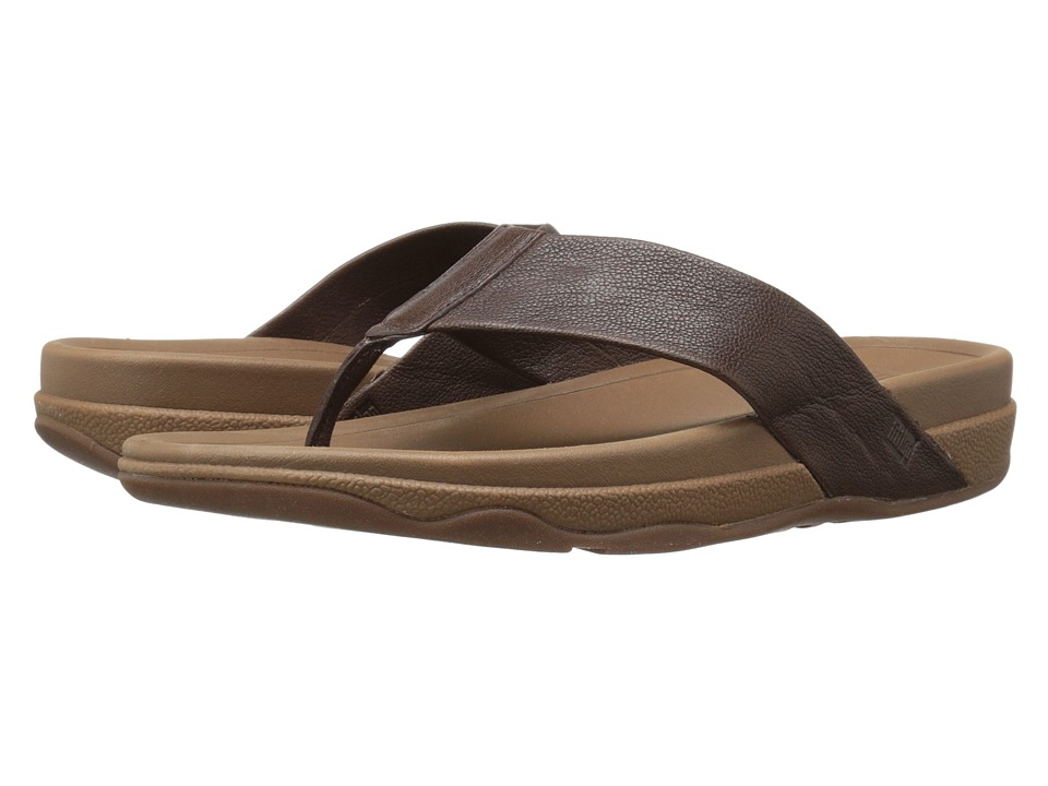 FitFlop - Surfer Leather (Chocolate Brown) Men's Sandals