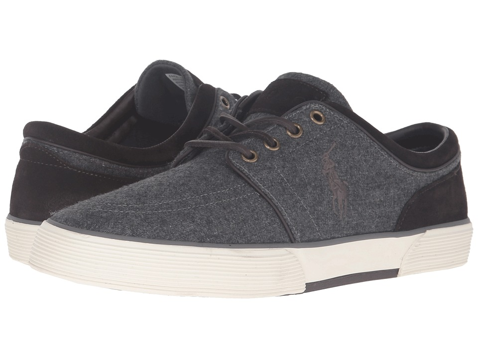 Polo Ralph Lauren Faxon Low (Grey/Dark Brown Solid Flannel/Sport Suede) Men
