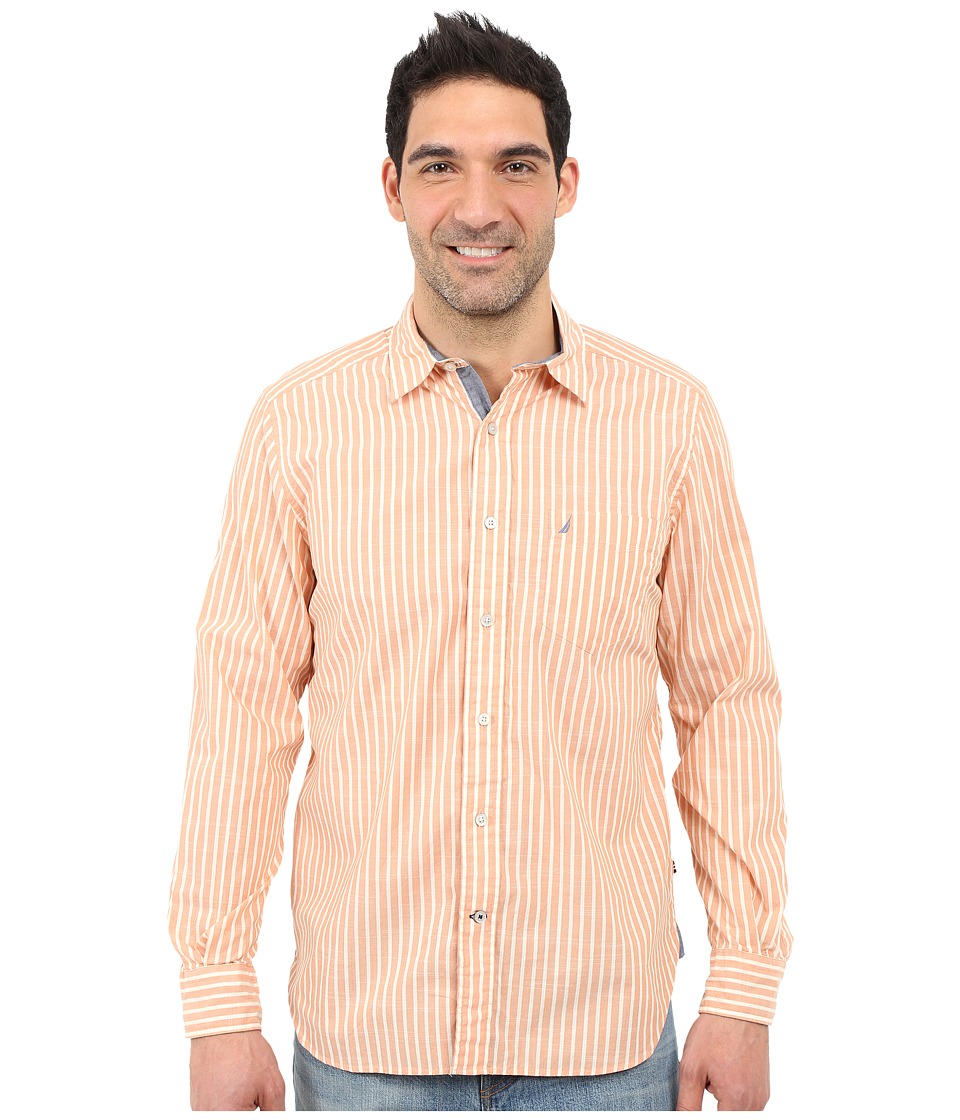 Nautica - Long Sleeve Poplin Shirt Pocket (Island Mango) Men's Long Sleeve Button Up