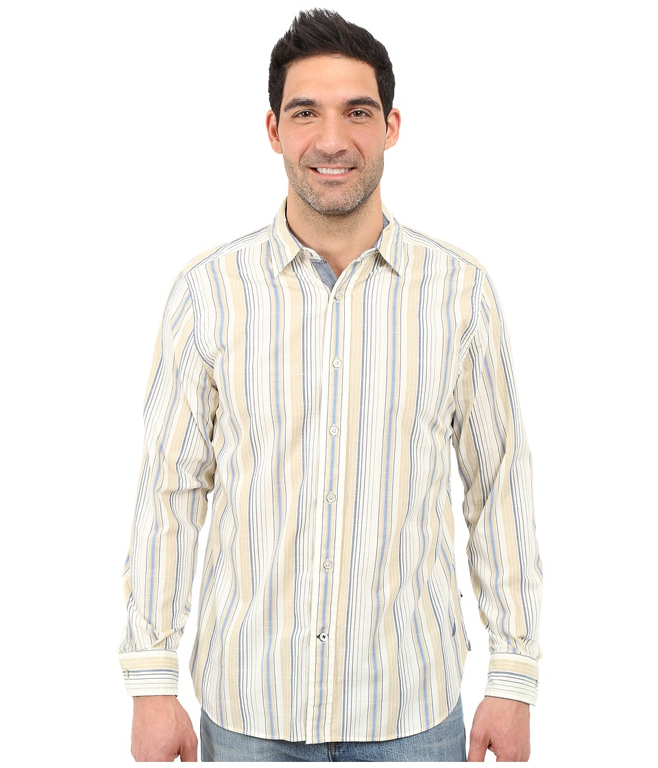 Nautica - Long Sleeve Slub Poplin Stripe (Tent Tan) Men's Long Sleeve Button Up