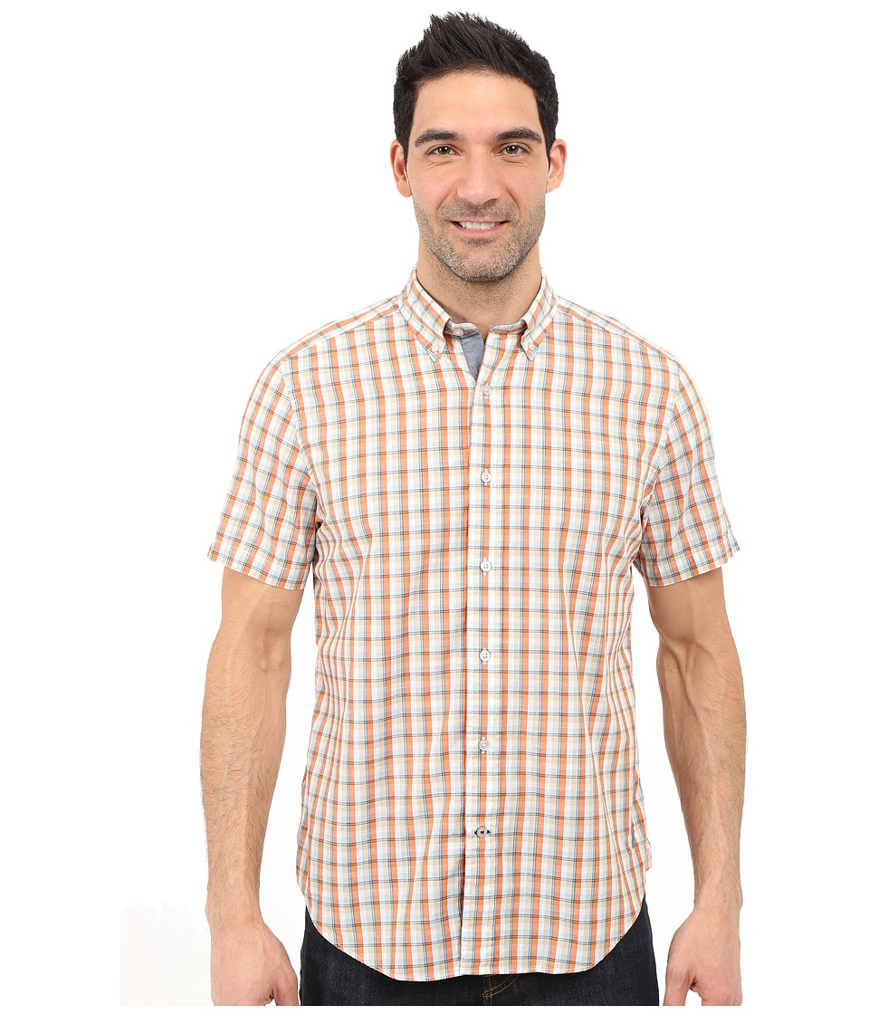 Nautica - Short Sleeve Poplin Plaid (Fireside) Men's Short Sleeve Button Up