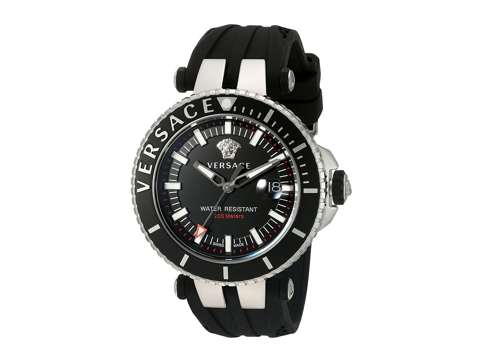 Versace - V-Race Diver VAK01 0016 (Stainless Steel/Black) Watches