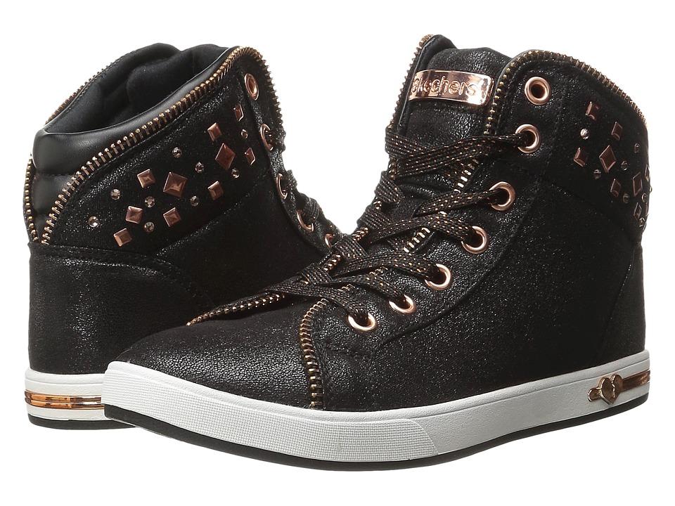 SKECHERS KIDS - Shoutouts 84301L (Little Kid/Big Kid) (Black/Rose Gold) Girl's Shoes