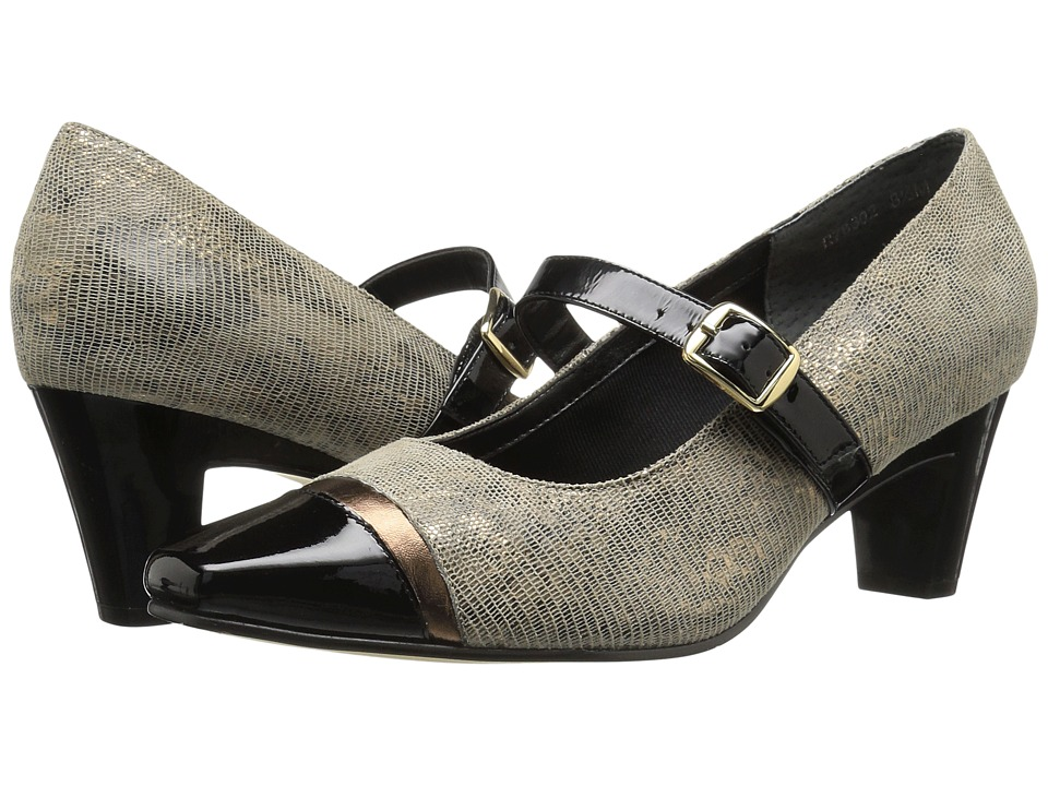 Rose Petals Radiant (Taupe/Gold Lizard Print/Black Patent) Women
