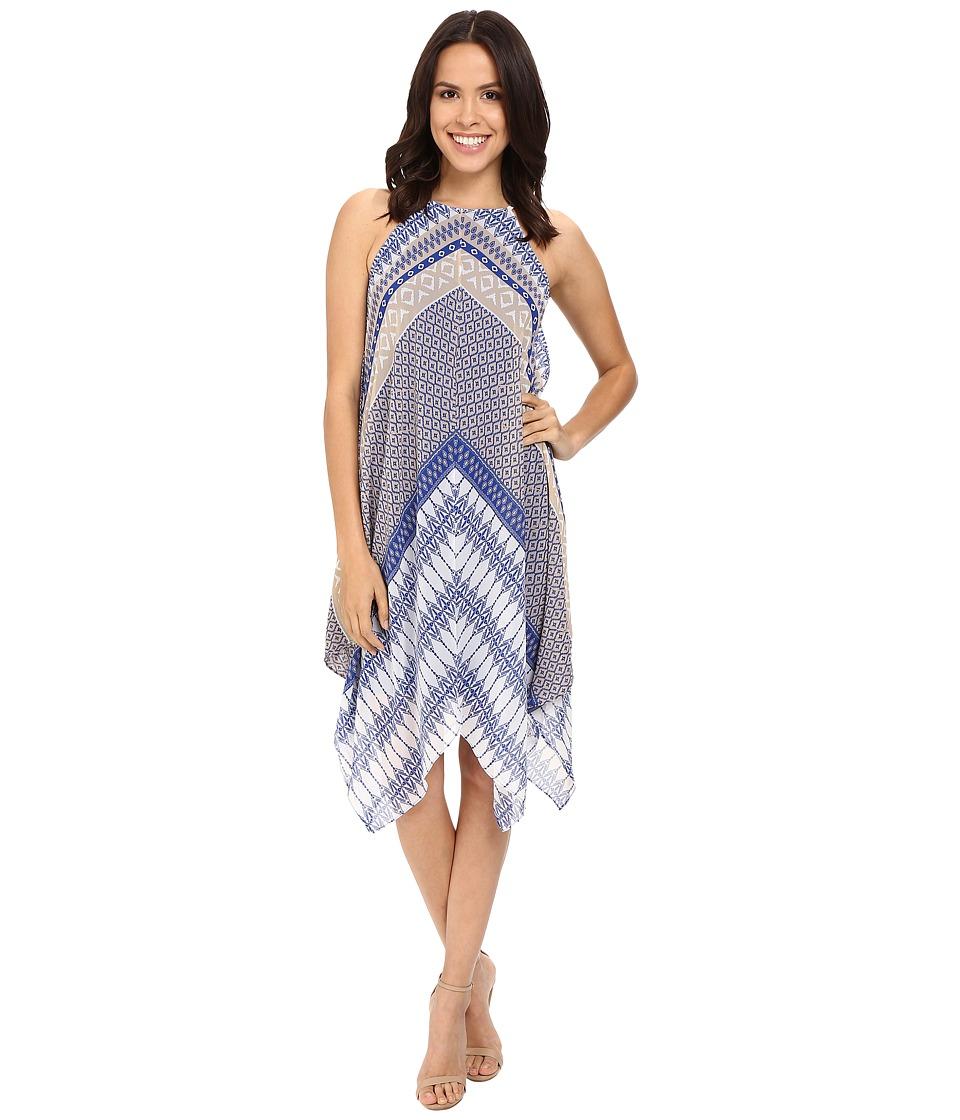 Christin Michaels - Mackensie Woven Dress (Tan/Royal) Women's Dress