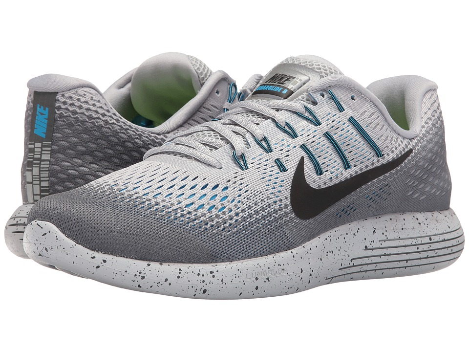 Nike - LunarGlide 8 Shield (Wolf Grey/Cool Grey/Blue Glow/Black) Men's Running Shoes
