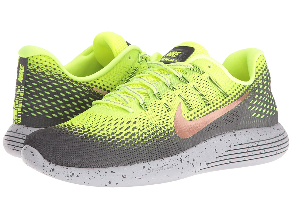 Nike - LunarGlide 8 Shield (Volt/Dark Grey/Wolf Grey/Metallic Red Bronze) Men's Running Shoes