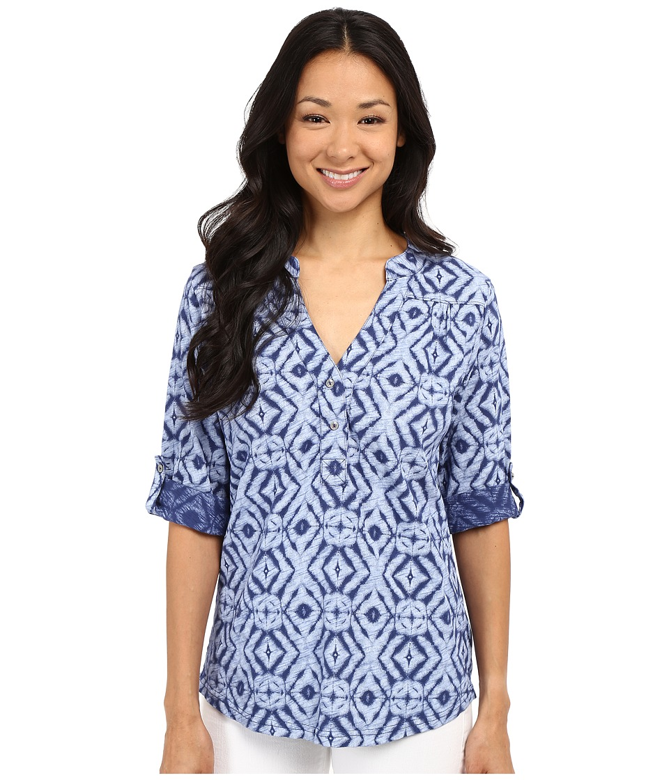 Fresh Produce - Shibori Dockside Henley (Moonlight Blue) Women's Long Sleeve Pullover