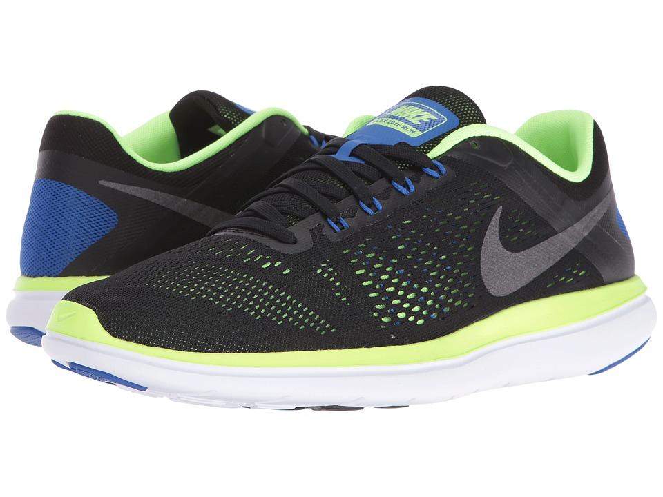 Nike - Flex 2016 RN (Black/Ghost Green/White/Metallic Dark Grey) Men's Running Shoes