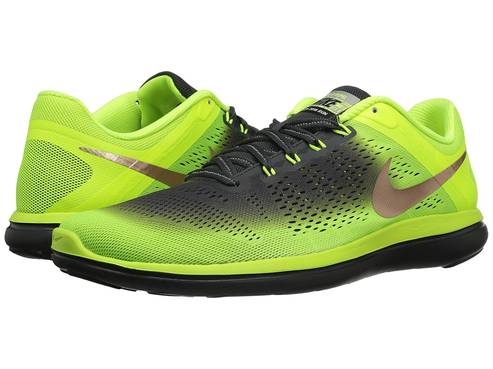 Nike - Flex 16 RN Shield (Volt/Metallic Red Bronze/Anthracite/Black) Men's Running Shoes