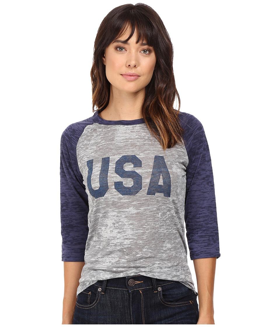 Alternative - Big League Baseball Tee (USA Print Grey Heather/Navy) T Shirt