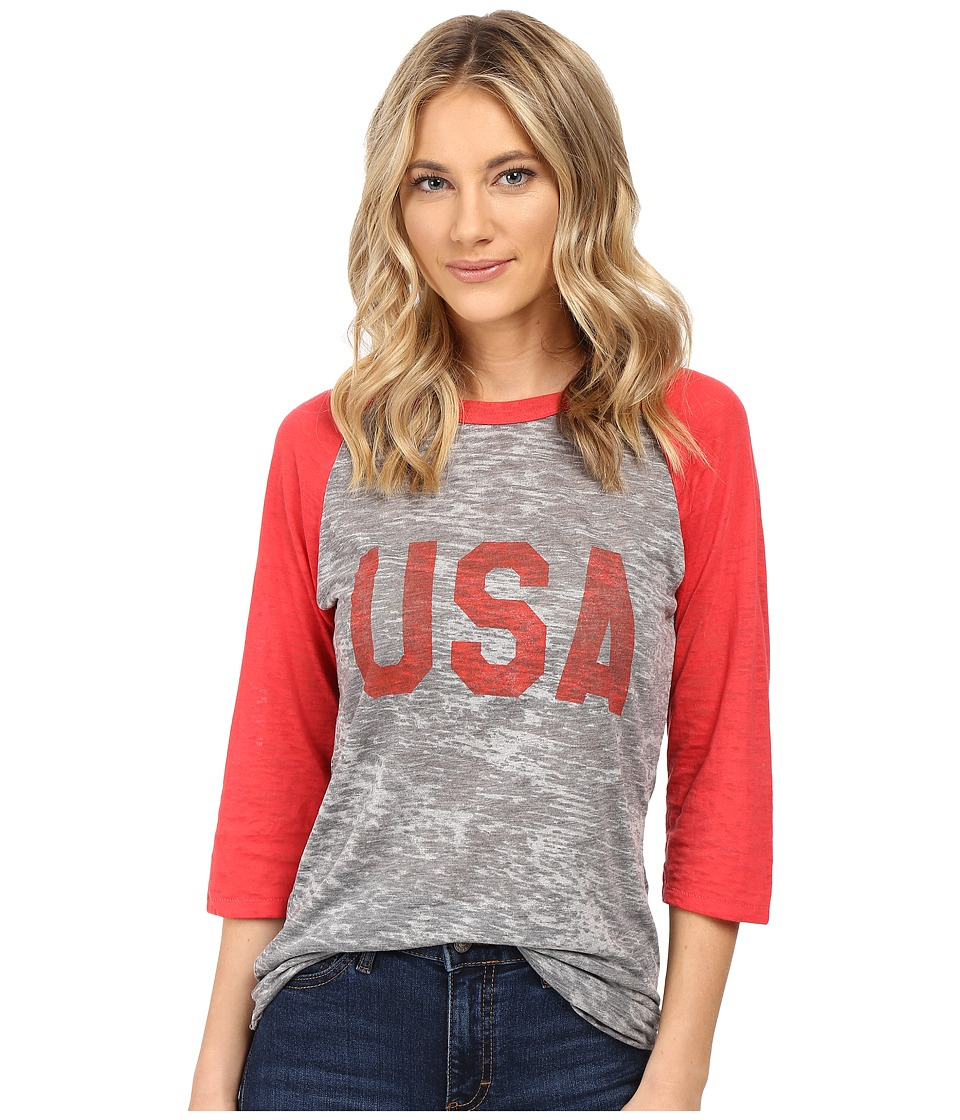 Alternative - Big League Baseball Tee (USA Print Grey Heather/Red) T Shirt
