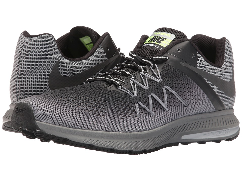 Nike - Air Zoom Winflo 3 Shield (Black/Black/Cool Grey/Wolf Grey) Men's Running Shoes