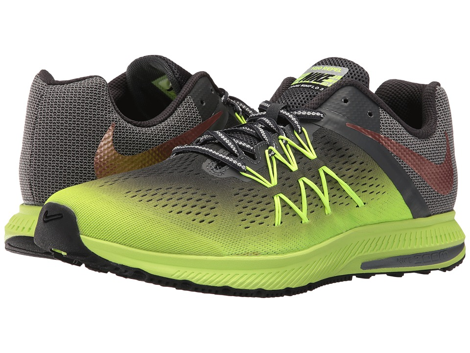 Nike - Air Zoom Winflo 3 Shield (Volt/Metallic Red Bronze/Anthracite/Black) Men's Running Shoes