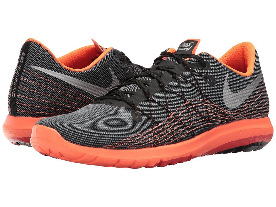 Nike - Flex Fury 2 (Black/Metallic Silver/Charcoal Grey/Total Orange) Men's Running Shoes