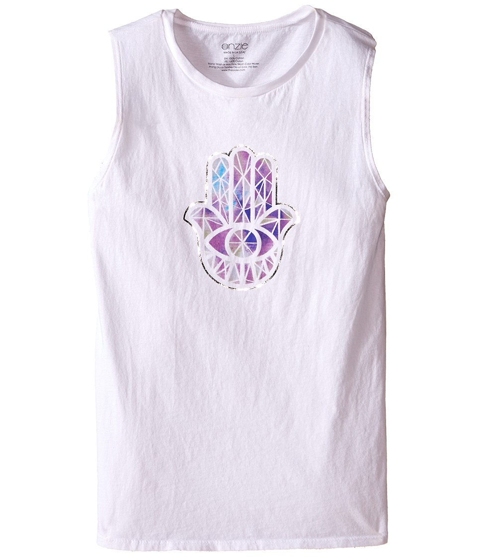 Onzie Kids - Nama Tank Top (Big Kids) (White Hamsa) Girl's Sleeveless