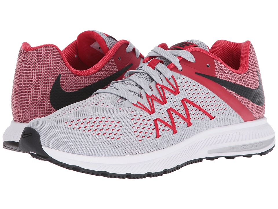 Nike - Zoom Winflo 3 (Wolf Grey/Black/University Red/White) Men's Running Shoes