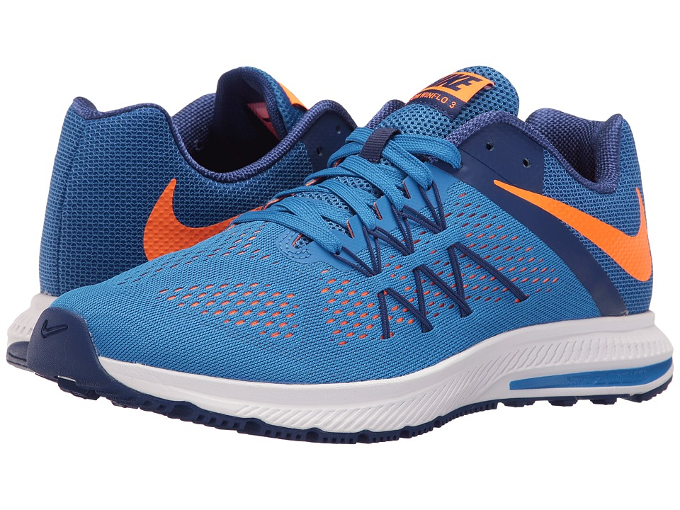 Nike - Zoom Winflo 3 (Fountain Blue/Deep Royal Blue/White/Total Orange) Men's Running Shoes