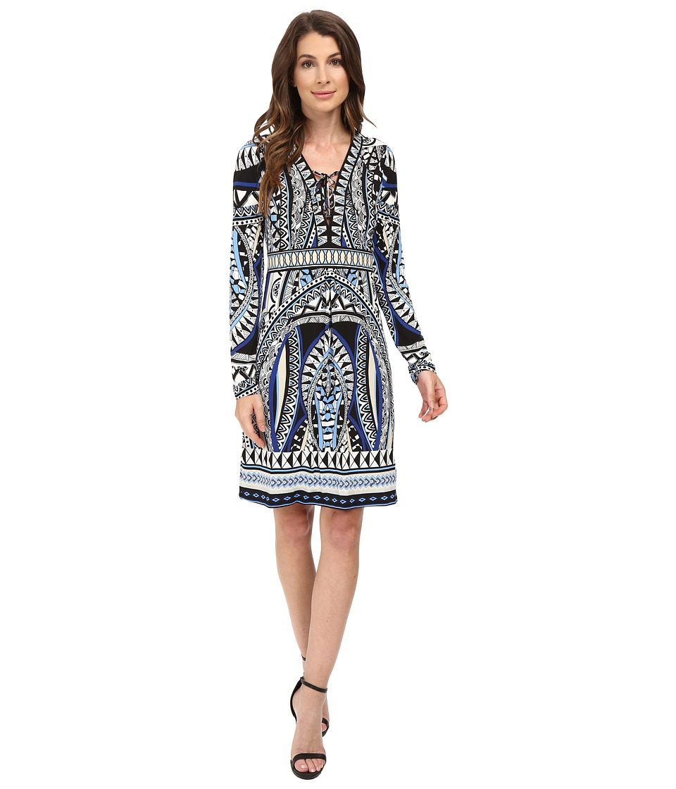 Hale Bob The Bold and the Beautiful Long Sleeve Dress with Lace-Up Detail (Black) Women